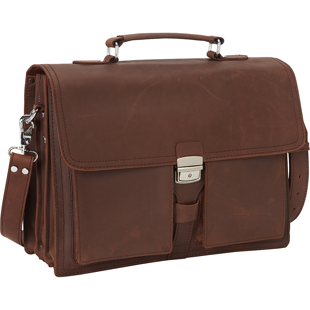 "Vagabond Traveler 16"" Pro Cowhide Leather Portfolio Briefcase Reddish Brown - Vagabond Traveler Non-Wheeled Business Cases"