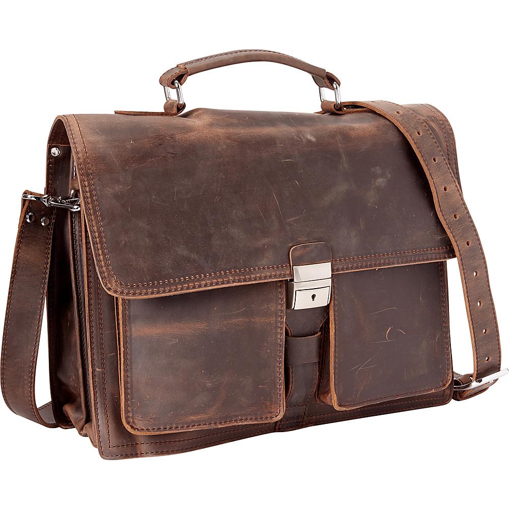 Vagabond Traveler 16 Pro Cowhide Leather Portfolio Briefcase Dark Brown - Vagabond Traveler Non-Wheeled Business Cases - Work Bags & Briefcases, Non-Wheeled Business Cases