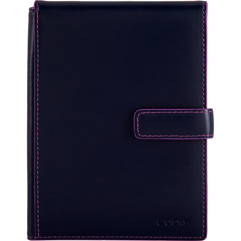 Lodis Audrey RFID Passport Wallet with Ticket Flap Navy/Orchid - Lodis Travel Wallets - Travel Accessories, Travel Wallets