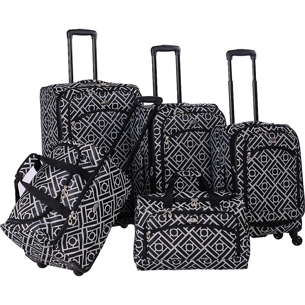 American Flyer Astor Collection 5 Piece Spinner Luggage Set Black & White - American Flyer Luggage Sets