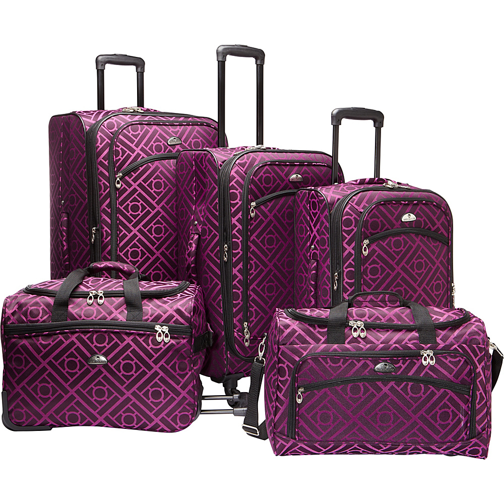 American Flyer Astor Collection 5 Piece Spinner Luggage Set Black Purple - American Flyer Luggage Sets