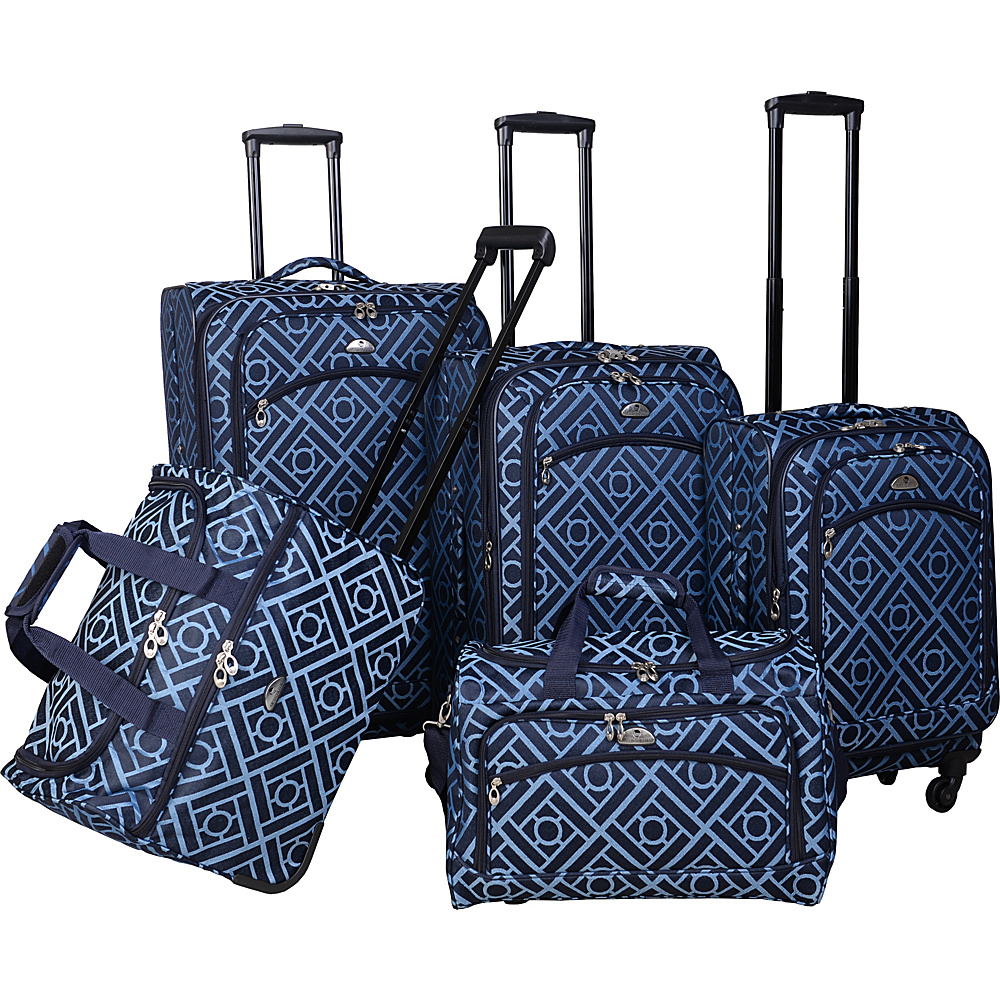 American Flyer Astor Collection 5 Piece Spinner Luggage Set Black Blue - American Flyer Luggage Sets