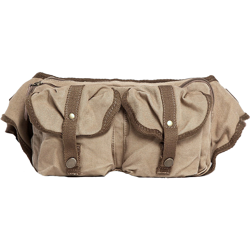 Vagabond Traveler Stylish 10 Canvas Waist Fanny Pack Khaki - Vagabond Traveler Waist Packs - Backpacks, Waist Packs