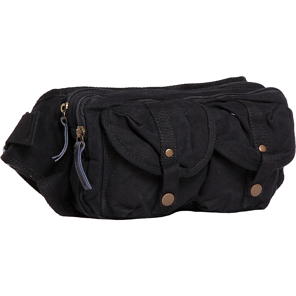 Vagabond Traveler Stylish 10 Canvas Waist Fanny Pack Black - Vagabond Traveler Waist Packs - Backpacks, Waist Packs