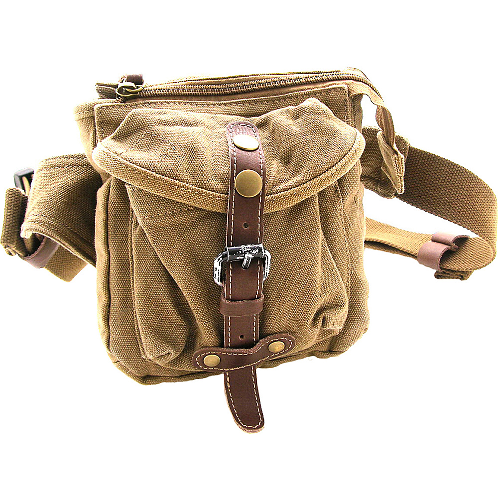 Vagabond Traveler Stylish 6.5 Small Canvas Waist Bag Khaki - Vagabond Traveler Waist Packs - Backpacks, Waist Packs