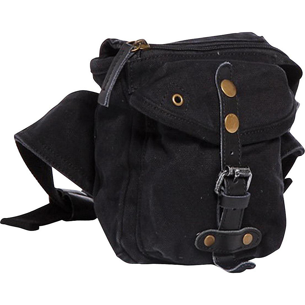 Vagabond Traveler Stylish 6.5 Small Canvas Waist Bag Black - Vagabond Traveler Waist Packs - Backpacks, Waist Packs