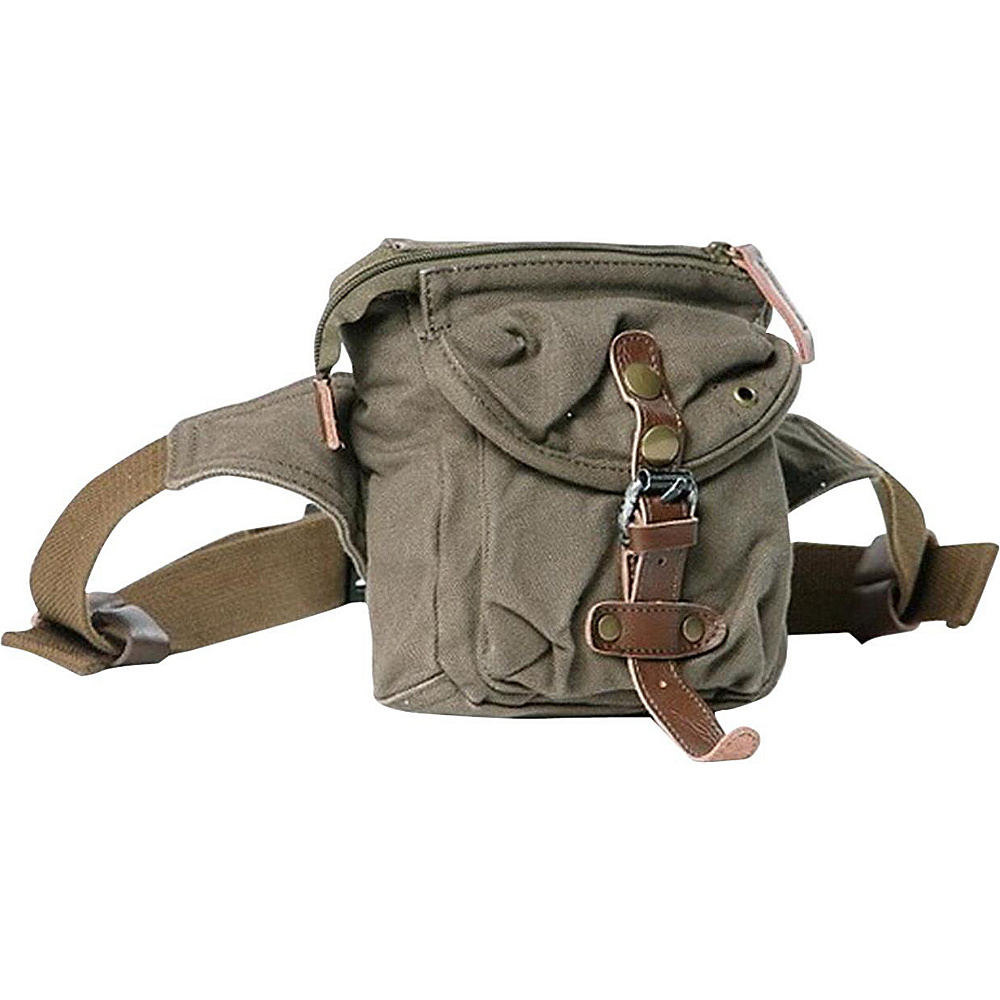 "Vagabond Traveler Stylish 6.5"" Small Canvas Waist Bag Military Green - Vagabond Traveler Waist Packs"