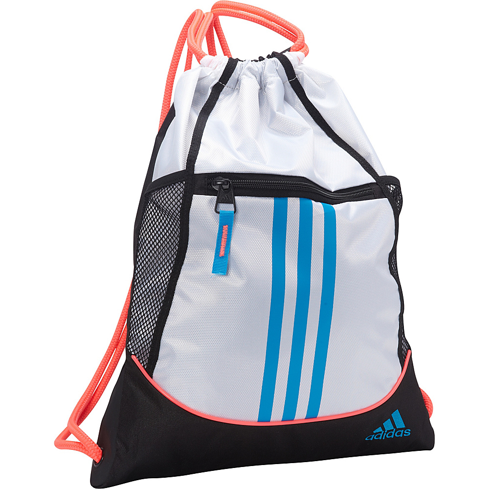 adidas Alliance II Sackpack White/Flash Red/Solar Blue - adidas School & Day Hiking Backpacks