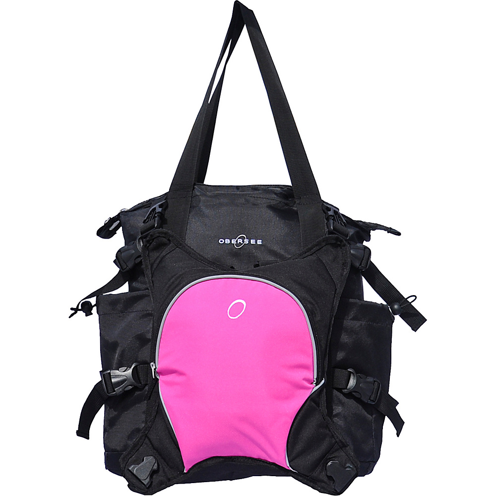 Obersee Innsbruck Diaper Bag Tote with Cooler Black Pink Obersee Diaper Bags Accessories
