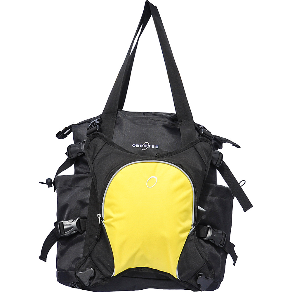 Obersee Innsbruck Diaper Bag Tote with Cooler Black / Yellow - Obersee Diaper Bags & Accessories