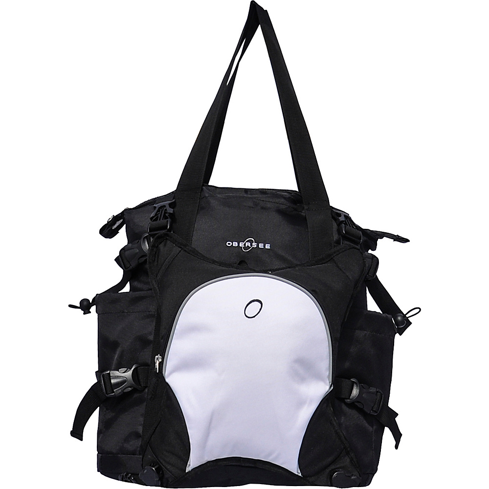 Obersee Innsbruck Diaper Bag Tote with Cooler Black White Obersee Diaper Bags Accessories
