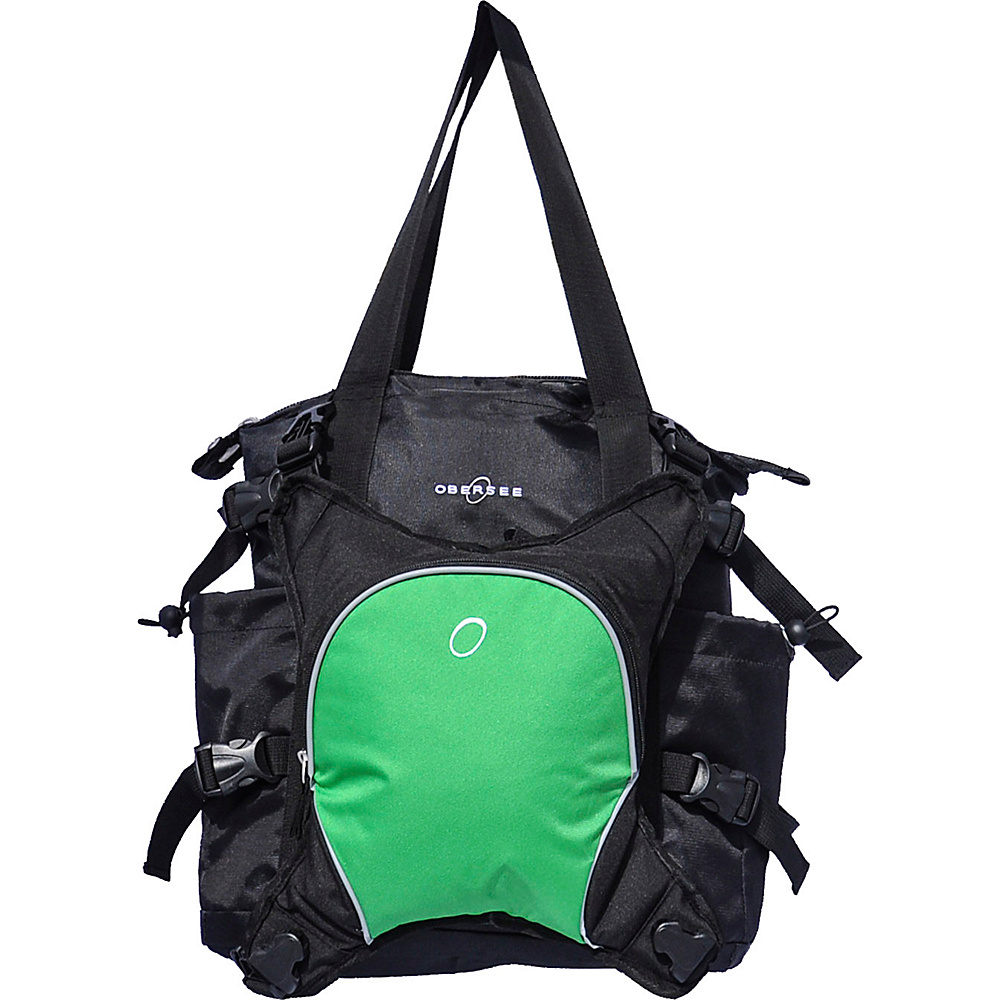 Obersee Innsbruck Diaper Bag Tote with Cooler Black / Green - Obersee Diaper Bags & Accessories