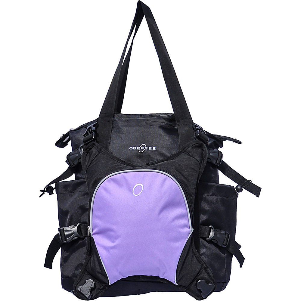 Obersee Innsbruck Diaper Bag Tote with Cooler Black Purple Obersee Diaper Bags Accessories