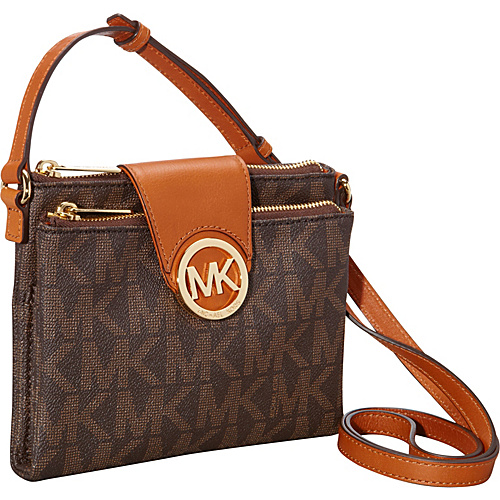 MICHAEL Michael Kors Fulton Large Crossbody Bag - Monogrammed Brown - MICHAEL Michael Kors Designer Handbags
