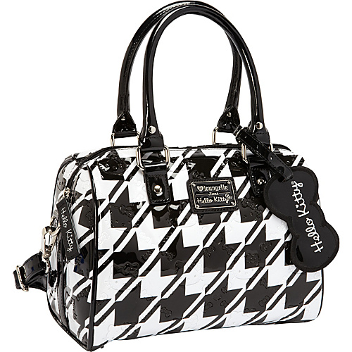 Loungefly Hello Kitty  Houndstooth Emboss Mini City Bag Black/White - Loungefly Manmade Handbags