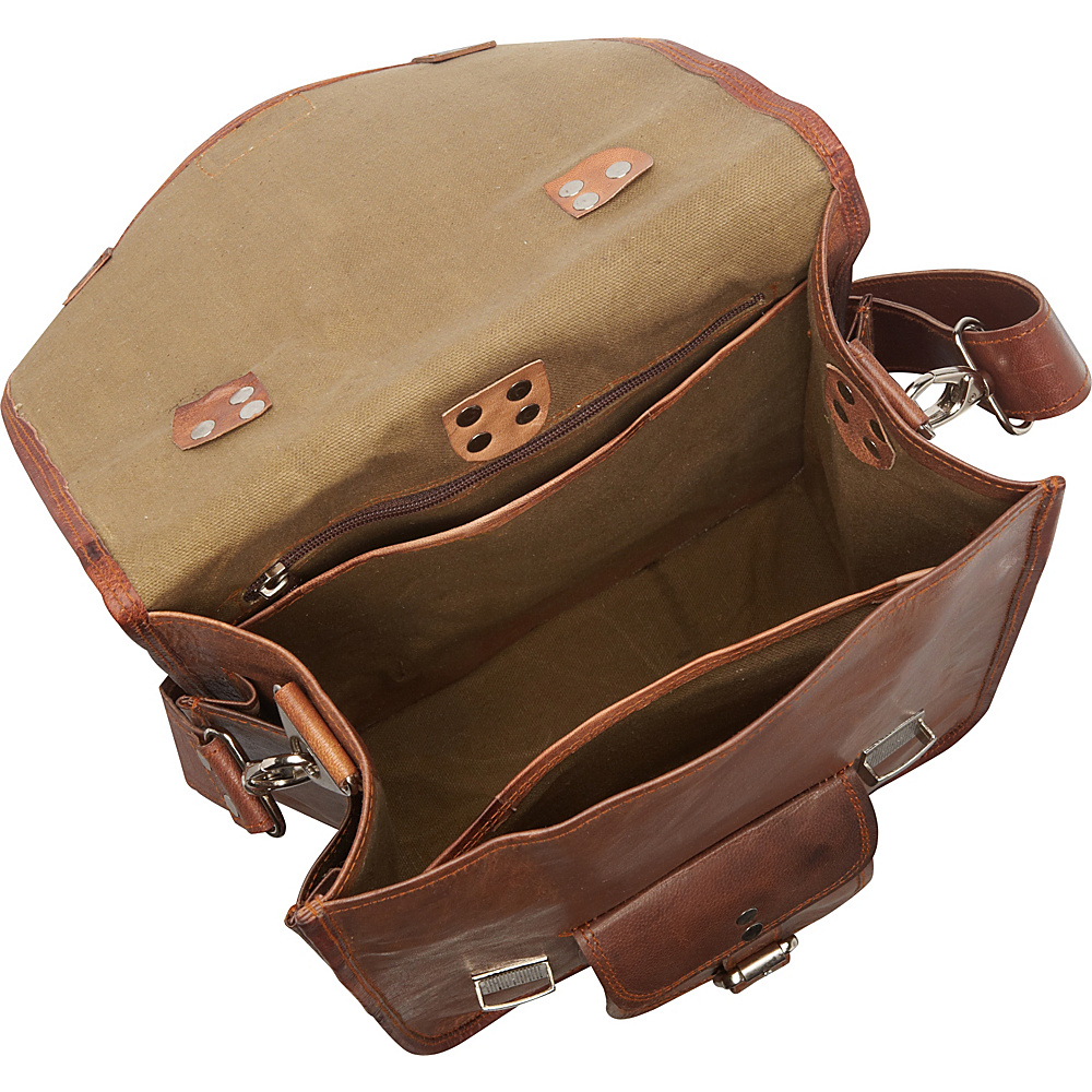 Sharo Leather Bags Long Three-in-One Backpack/Brief/Messenger Brown - Sharo Leather Bags Business & Laptop Backpacks