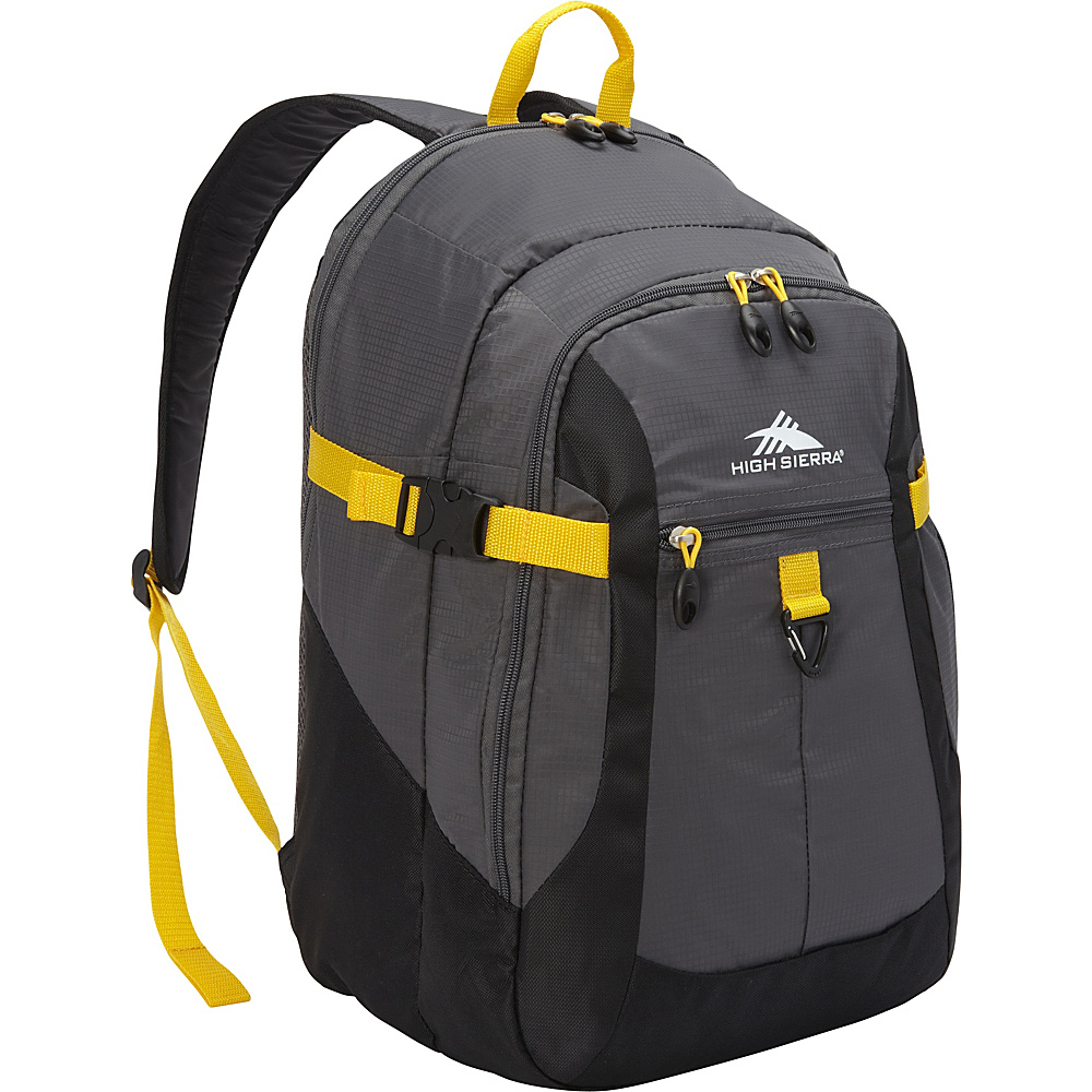 High Sierra Sportour Computer Backpack Grey/Black/Sunflower - High Sierra Business & Laptop Backpacks