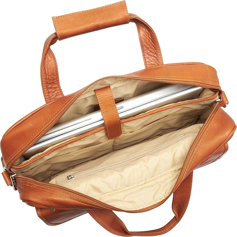 Piel Slim Top-Zip Briefcase Chocolate - Piel Non-Wheeled Business Cases