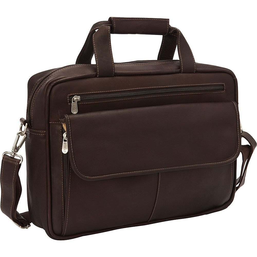 Piel Slim Top-Zip Briefcase Chocolate - Piel Non-Wheeled Business Cases