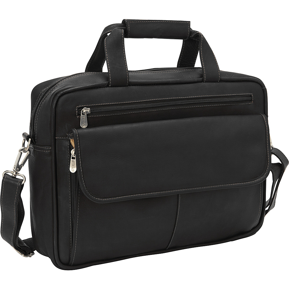Piel Slim Top-Zip Briefcase Black - Piel Non-Wheeled Business Cases
