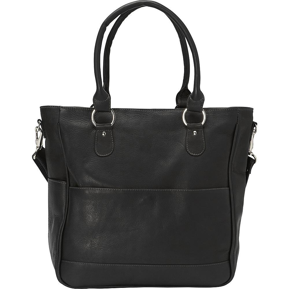Piel Carry-All Cross Body Tote Black - Piel Leather Handbags - Handbags, Leather Handbags