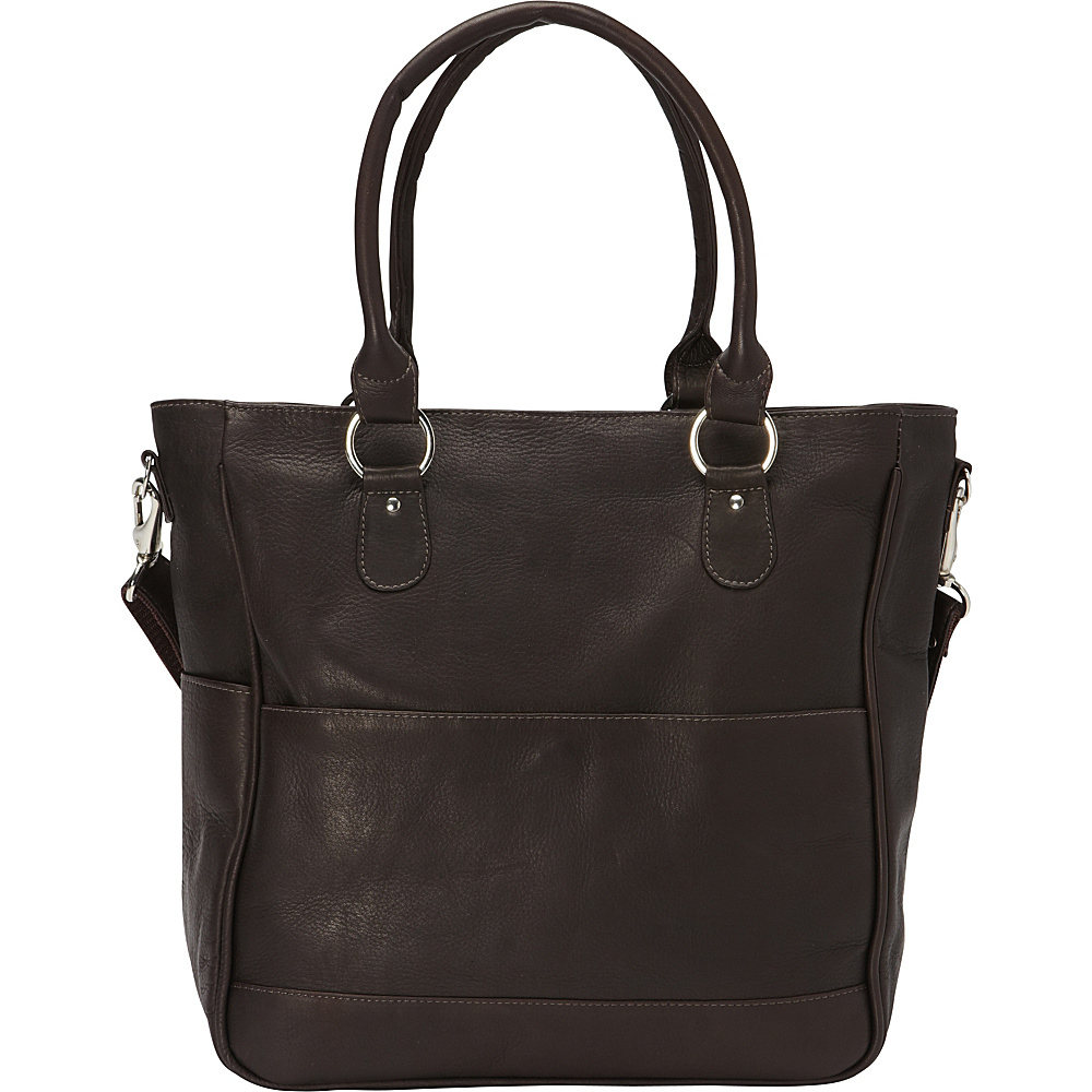 Piel Carry-All Cross Body Tote Chocolate - Piel Leather Handbags