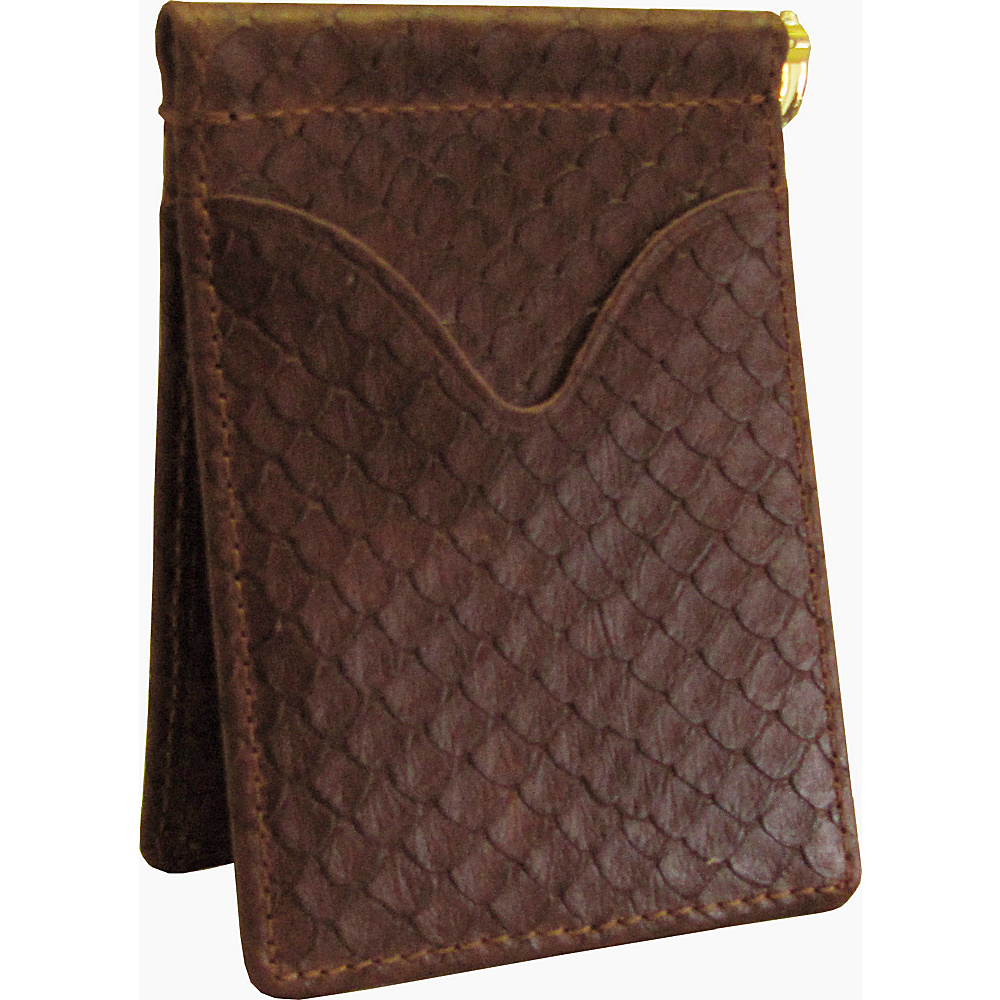 AmeriLeather Leather Money Clip Brown Python - AmeriLeather Mens Wallets - Work Bags & Briefcases, Men's Wallets