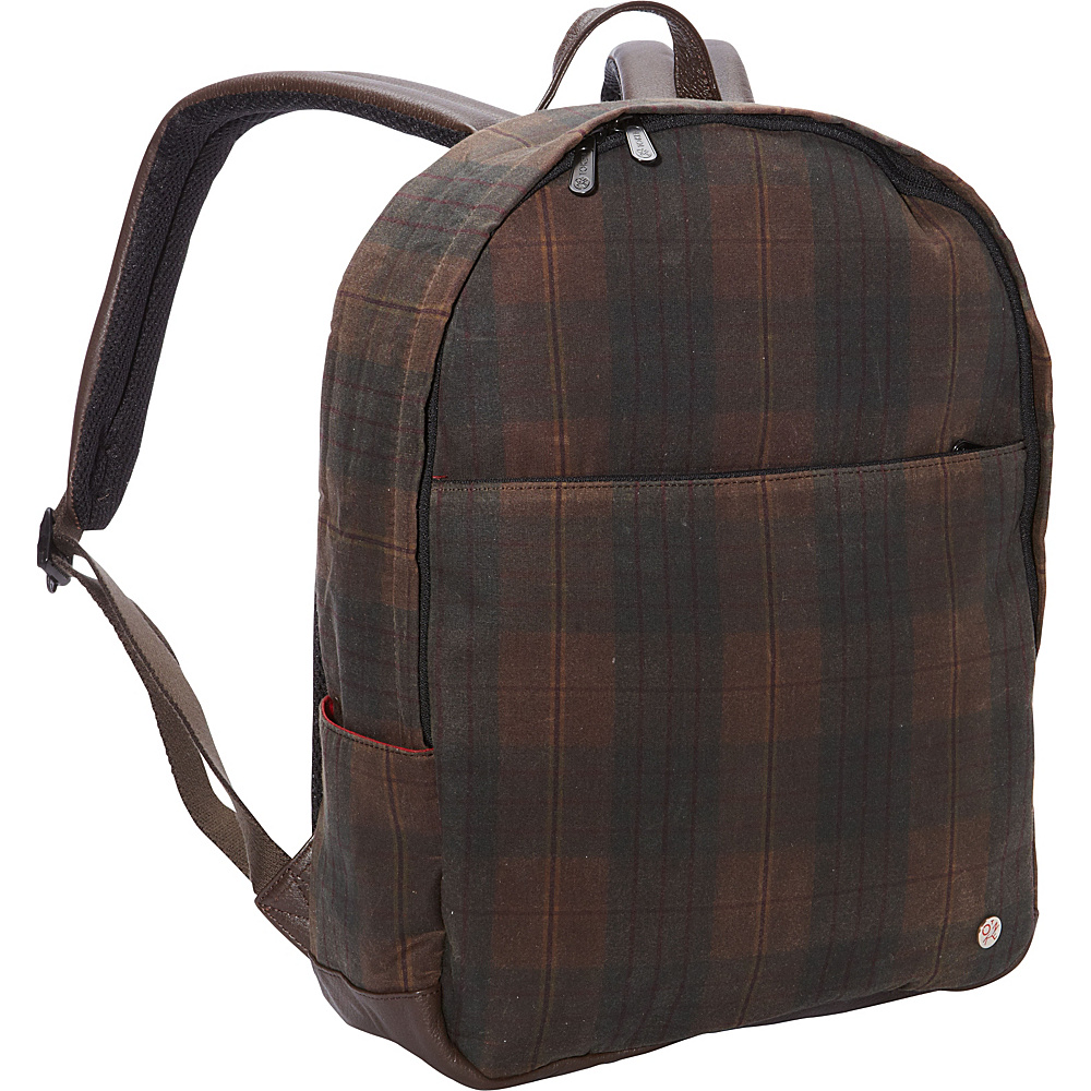 TOKEN University Waxed Backpack Dark Brown Plaid TOKEN Everyday Backpacks