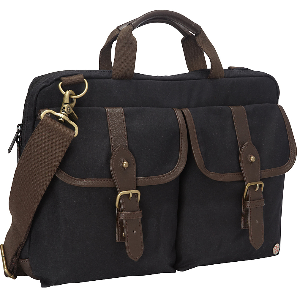 "TOKEN Waxed Knickerbocker Laptop Bag (13"") Black/Dark Brown - TOKEN Non-Wheeled Business Cases"