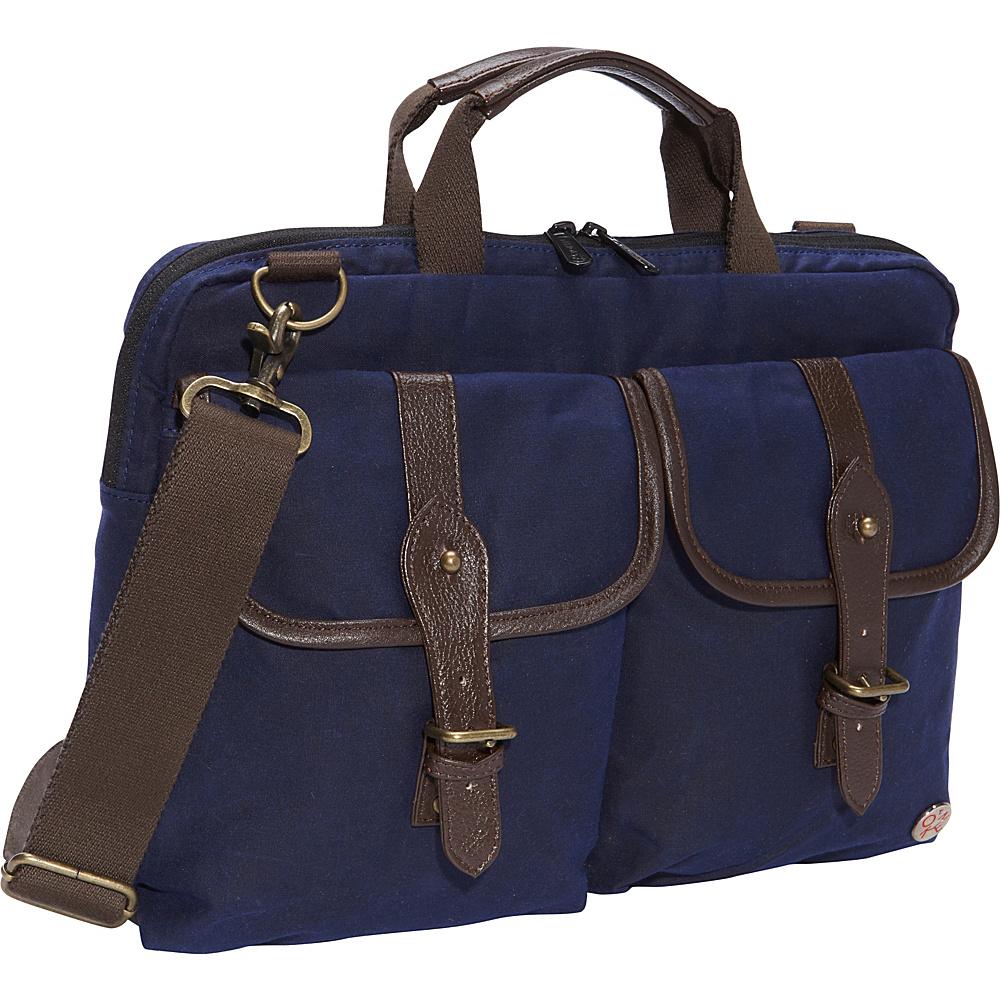 "TOKEN Waxed Knickerbocker Laptop Bag (13"") Navy/Dark Brown - TOKEN Non-Wheeled Business Cases"