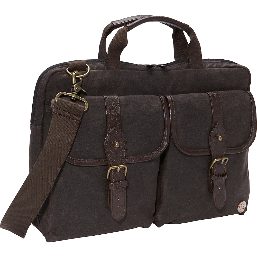 "TOKEN Waxed Knickerbocker Laptop Bag (13"") Dark Brown/Dark Brown - TOKEN Non-Wheeled Business Cases"