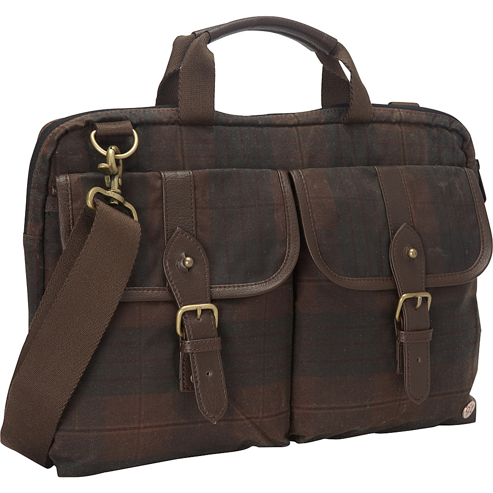 TOKEN Waxed Knickerbocker Laptop Bag 13 Dark Brown Plaid Dark Brown TOKEN Non Wheeled Business Cases