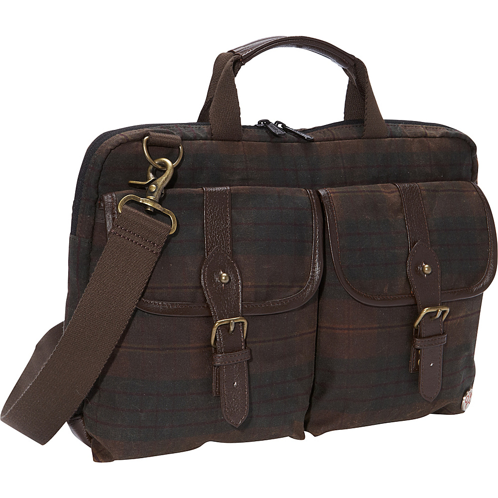 TOKEN Waxed Knickerbocker Laptop Bag 13 Dark Brown Plaid Black TOKEN Non Wheeled Business Cases
