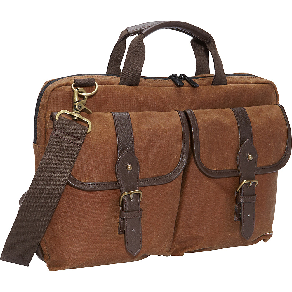 "TOKEN Waxed Knickerbocker Laptop Bag (13"") Field Tan/Dark Brown - TOKEN Non-Wheeled Business Cases"