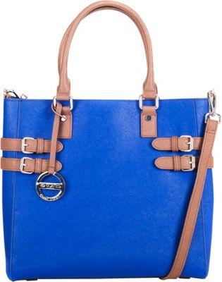 Cezar Mizrahi Handbags Classic Tote Royal/Caramel - Cezar Mizrahi Handbags Leather Handbags