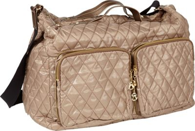 Clava Three Large Quilted Pocket Crossbody Gold Quilted Nylon - Clava Fabric Handbags