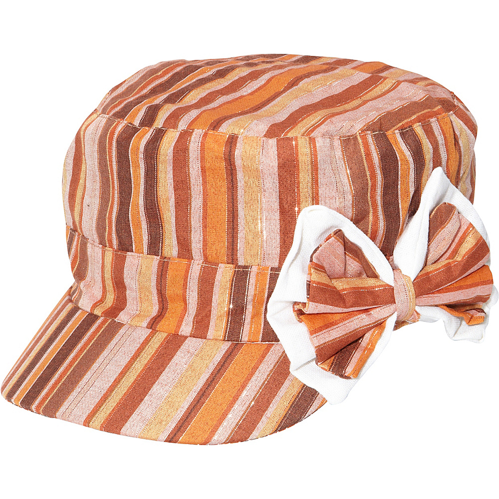 Magid Striped Bow Cap Multi Magid Hats Gloves Scarves