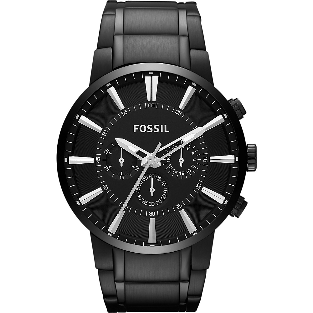 Fossil Chronograph Stainless Steel Watch Black - Fossil Watches - Fashion Accessories, Watches
