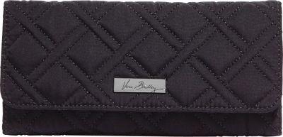 Vera Bradley Trifold Wallet- Solids Classic Black - Vera Bradley Ladies Small Wallets