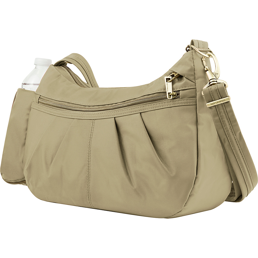 Travelon Anti-Theft Signature Hobo Khaki - Travelon Fabric Handbags - Handbags, Fabric Handbags