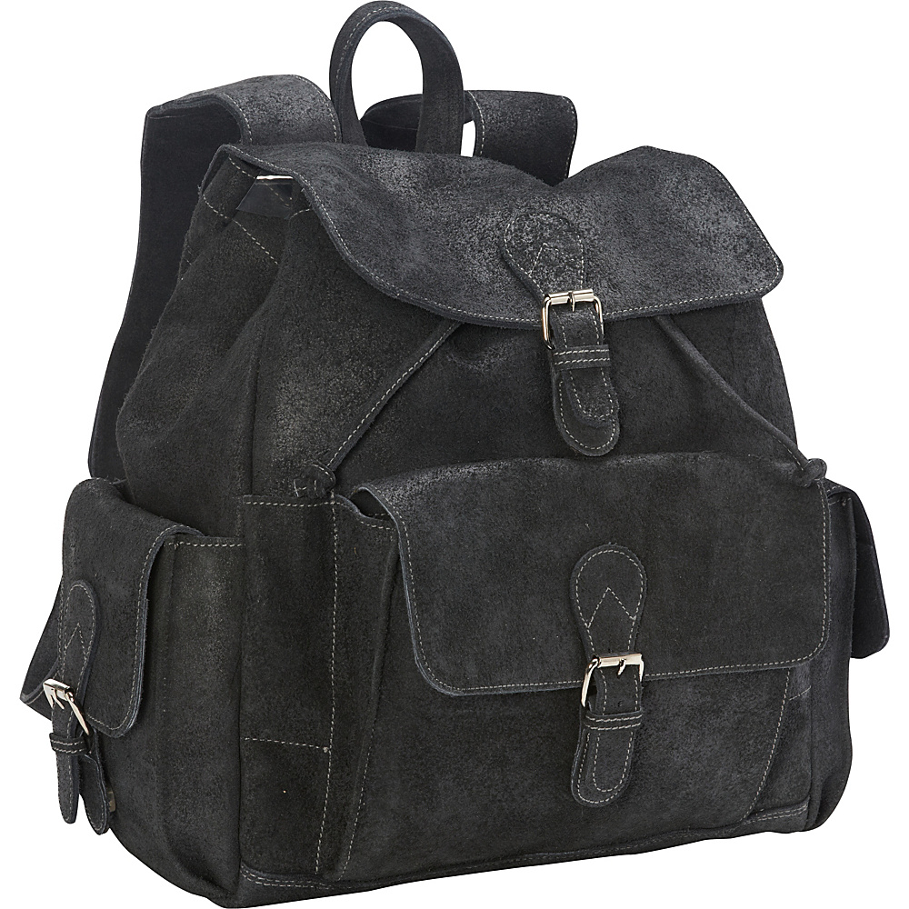 David King Co. Backpack with Flap Over Pockets Destressed Black David King Co. Everyday Backpacks