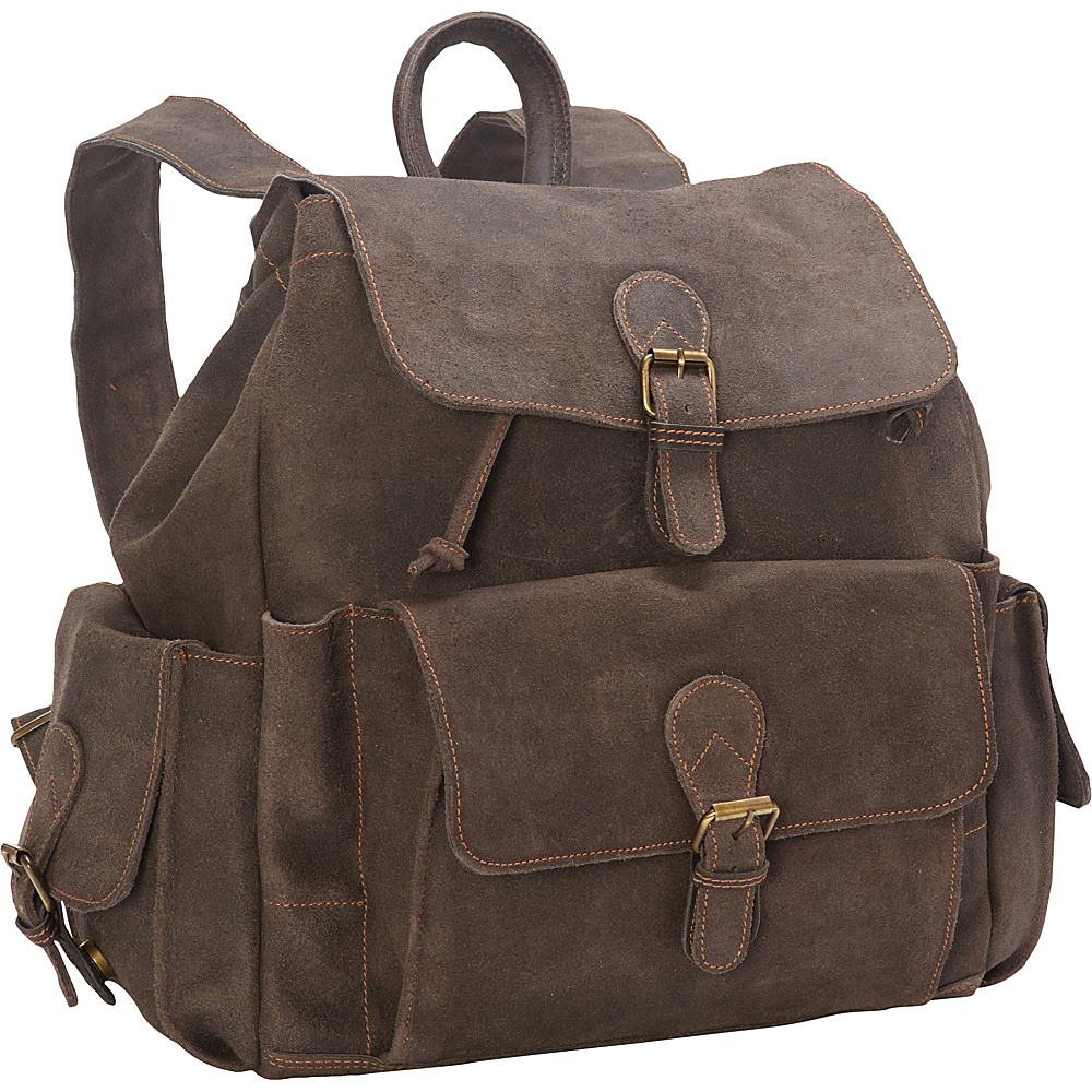 David King Co. Backpack with Flap Over Pockets Distressed Brown David King Co. Everyday Backpacks