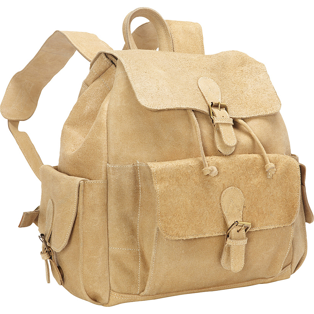 David King Co. Backpack with Flap Over Pockets Distressed Tan David King Co. Everyday Backpacks