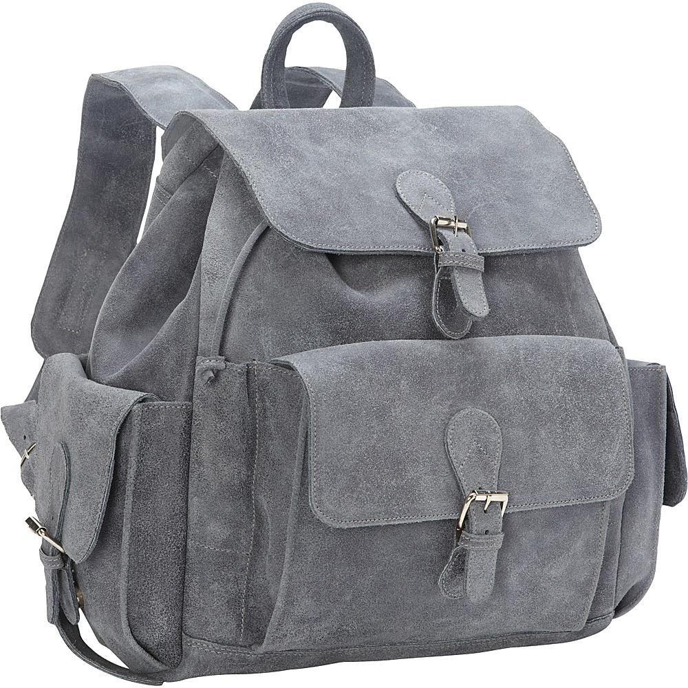 David King Co. Backpack with Flap Over Pockets Distressed Grey David King Co. Everyday Backpacks