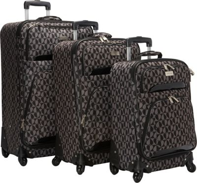 Geoffrey Beene Luggage Hearts Fashion 3 Pc Spinner Luggage Collection Gray/Black Hearts - Geoffrey Beene Luggage Luggage Sets