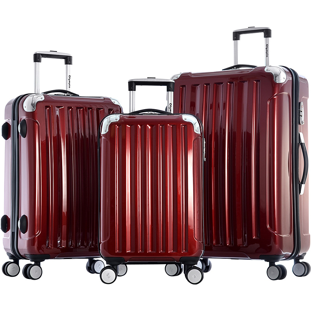 Olympia Stanton 3pc Hardcase Luggage Set Burgundy - Olympia Luggage Sets