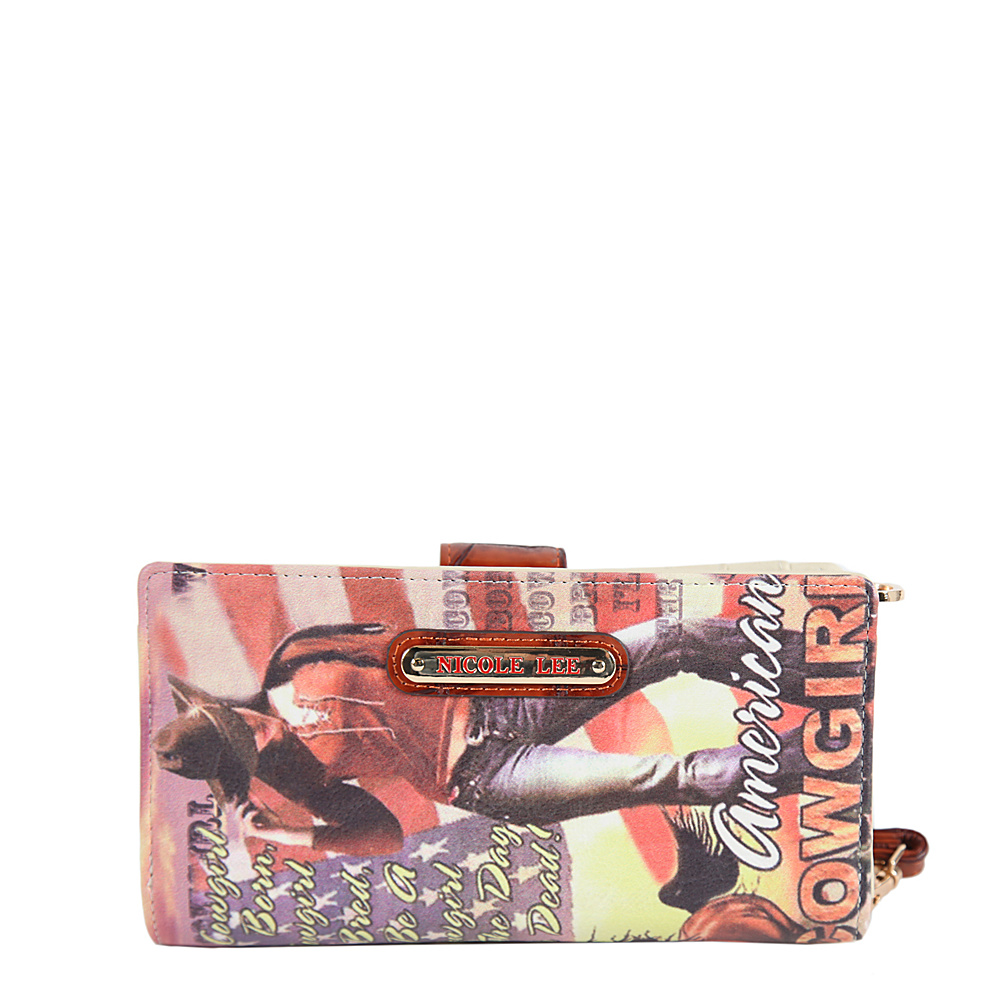 Nicole Lee Cowgirl Flag Print Wallet Collection Cowgirl Flag Brown Nicole Lee Women s Wallets