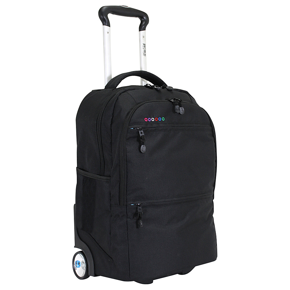J World New York Walkway Rolling Backpack Black J World New York Rolling Backpacks
