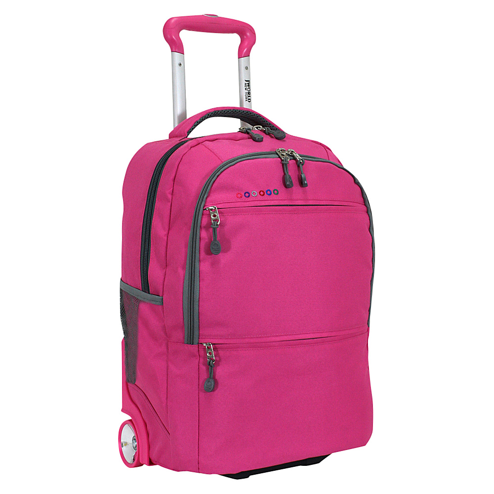 J World New York Walkway Rolling Backpack Pink J World New York Rolling Backpacks