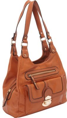 R & R Collections Leather Hobo with Front Push Snap Pocket TAN - R & R Collections Leather Handbags